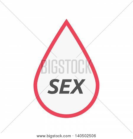 Isolated Line Art Blood Drop Icon With    The Text Sex