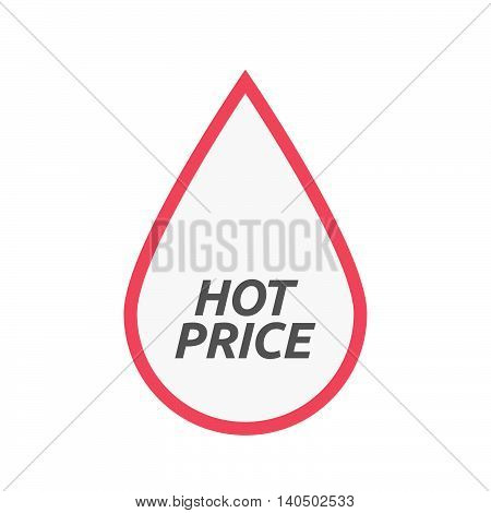 Isolated Line Art Blood Drop Icon With    The Text Hot Price