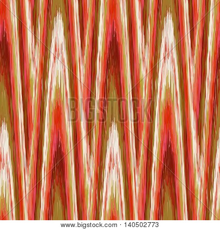 Green and red seamless Ikat Pattern. Abstract background for textile design wallpaper surface textures wrapping paper.