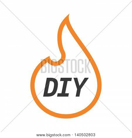 Isolated  Line Art Flame With    The Text Diy