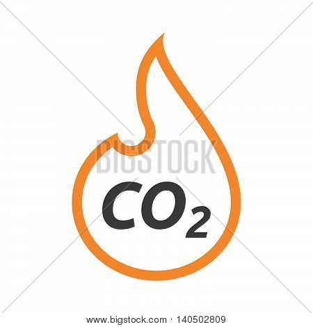 Isolated  Line Art Flame With    The Text Co2