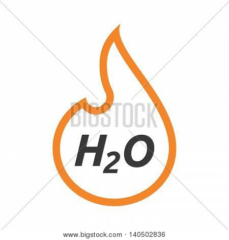 Isolated  Line Art Flame With    The Text H2O