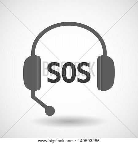 Isolated  Headset Icon With    The Text Sos