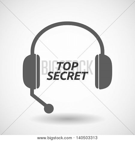 Isolated  Headset Icon With    The Text Top Secret