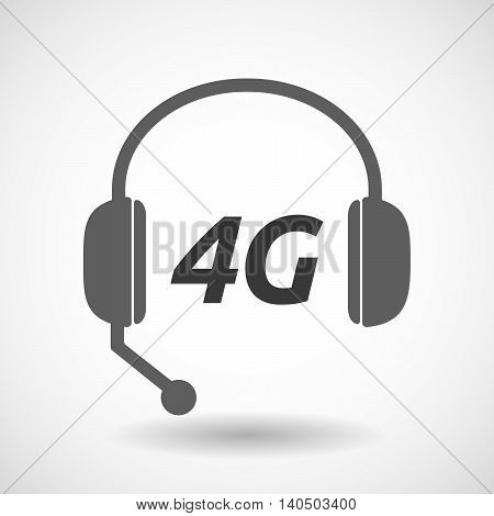 Isolated  Headset Icon With    The Text 4G