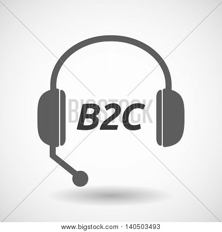 Isolated  Headset Icon With    The Text B2C