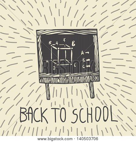 Back to school hand drawn doodle card with math knowledge elements written on blackboard. The school blackboard on beige background