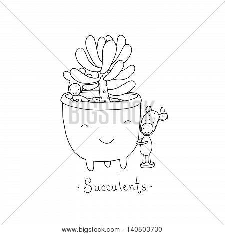 Cartoon cute succulents in pot. Little fairy.Hand drawing isolated objects on white background. Vector illustration. Coloring book