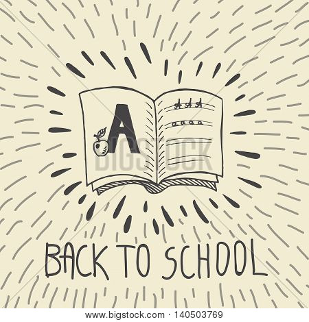 Back to school hand drawn doodle card with spell book and alphabet exercise. The spell book on beige background