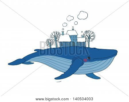 Big beautiful whale with houses and trees in the back. Hand drawing isolated objects on white background. Vector illustration. Animal in the sea and ocean. Coloring book