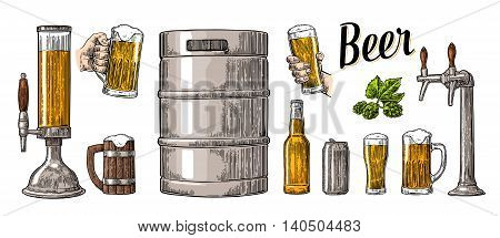 Beer set with two hands holding glasses mug and tap can keg bottle. Vintage color vector engraving illustration for web poster invitation to party. Isolated on white background.