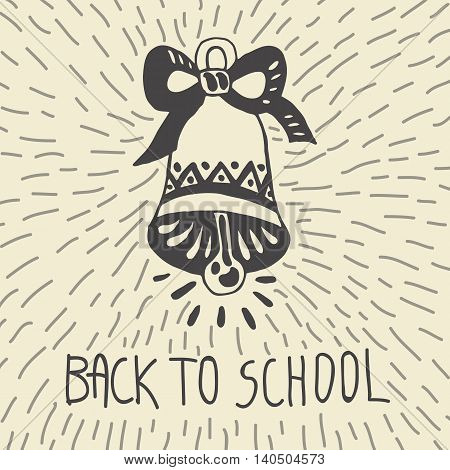 Back to school hand drawn doodle card with school bell. The school bell on beige background