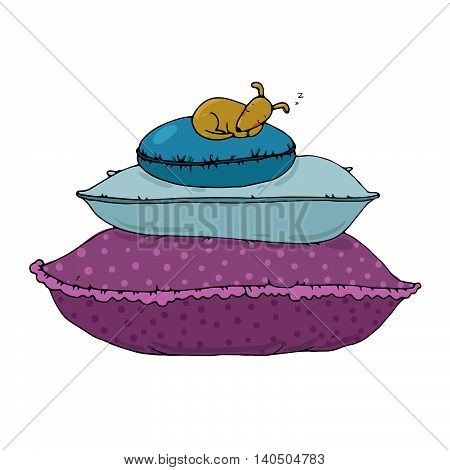 Beautiful pillows and dog on a white background. Cushions. Hand drawn vector.