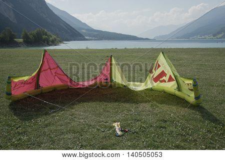 Reschensee - Italy - Suedtirol - 2015 August 10, Kitesurfing School Of Curan Venosta.