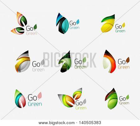 Set of leaf logos. illustration