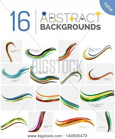 Pack of abstract backgrounds - smooth elegant unusual waves in different colors. Business or technology wallpaper, identity element