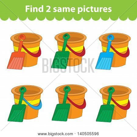 Children's educational game. Find two same pictures. Set of