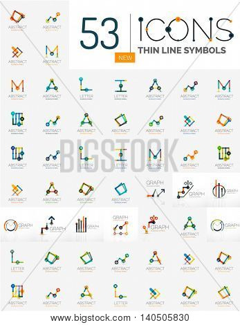 Collection of linear business logos - charts letters and abstract universal shapes. Growing stats finance concepts, clean modern symbols, graphs. Branding logotype company emblem ideas and branding