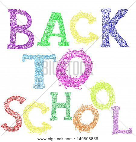 Back to school text. Vector lettering. New school year start.