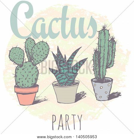 Vintage cactus print for t-shirt with slogan. Vecror print