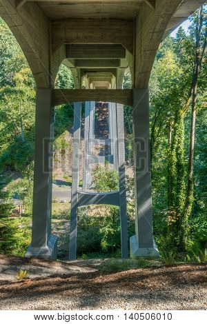 A view from beneath the highway bridge at Saltwater State Park in Washington State.