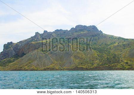 rocks in the sea, forest, Karadag Crimea Koktebel