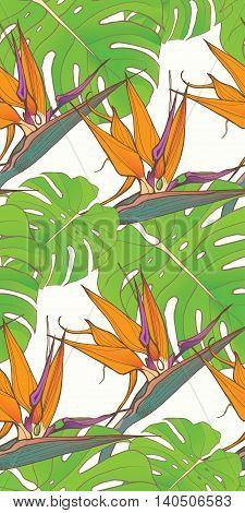 Seamless background with palm leaves and tropical flowers