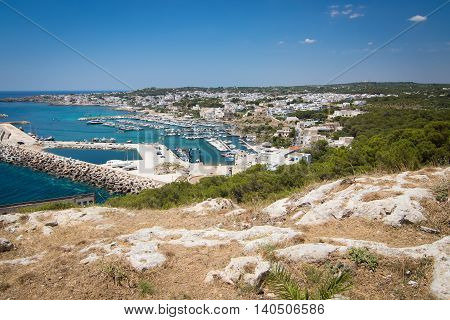 View over marina and town Santa Maria di Leuca - southernmost point in Italy region Puglia