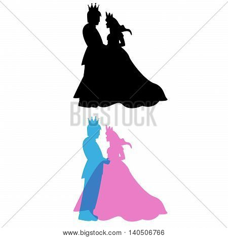 Prince and Princess with crown King and queen vector
