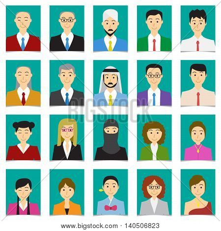 Half body shot People in flat style with green background vector