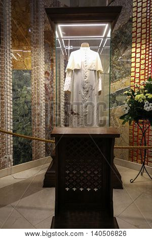 CRACOW POLAND - JULY 22 2016: The centre of Pope John Paul II. Cracow LagiewnikI Poland. The cassock of John Paul II whom the pope had on during the attempt