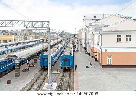GOMEL REPUBLIC BELARUS - June 19.2016: The city's railway station. Train station on the tracks