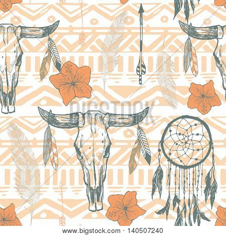 Boho seamless pattern with dreamcatchers and arrows