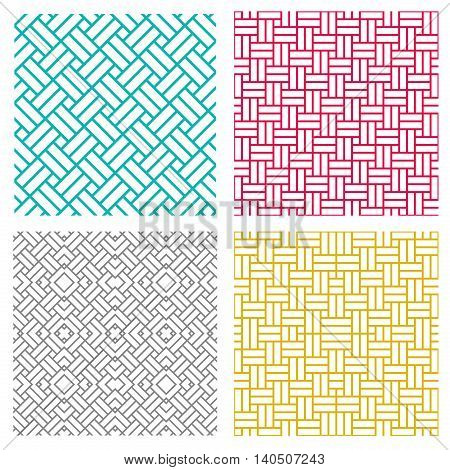 Geometric seamless weave line pattern in korean style vector