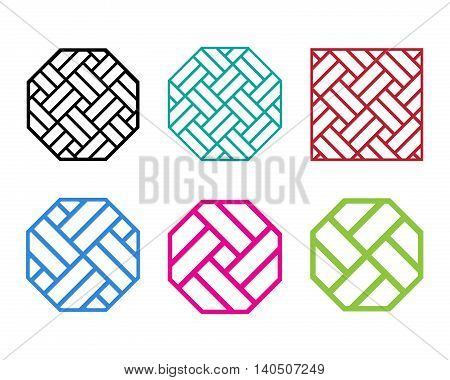 Set of Octagon Chinese pattern window frame vector