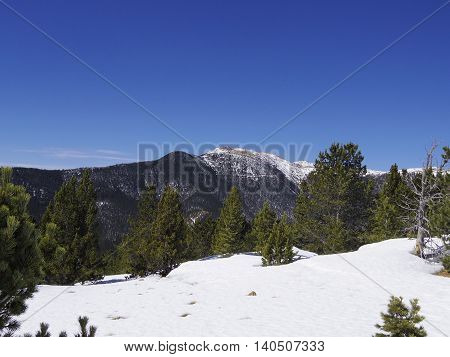 Blue Sky and Colorado Mountains near Colorado Springs