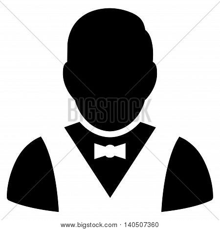 Waiter icon. Vector style is flat iconic symbol with rounded angles, black color, white background.