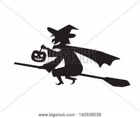 Witch hold pumpkin lamp on a broomstick vector