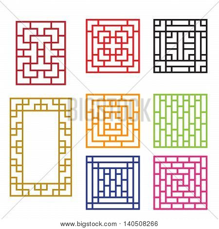 Traditional Chinese window in square concept vector