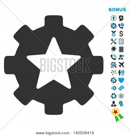 Favorites Options icon with bonus pictograms. Vector style is bicolor flat iconic symbol with rounded angles, blue and gray colors, white background.