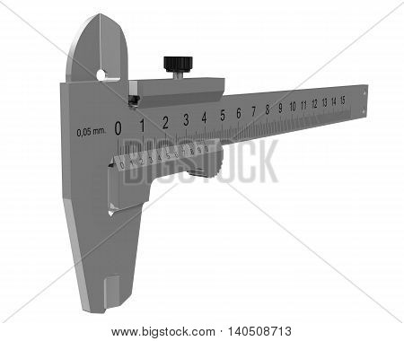 Calipers - precision measuring instrument. Isolated. 3D Illustration