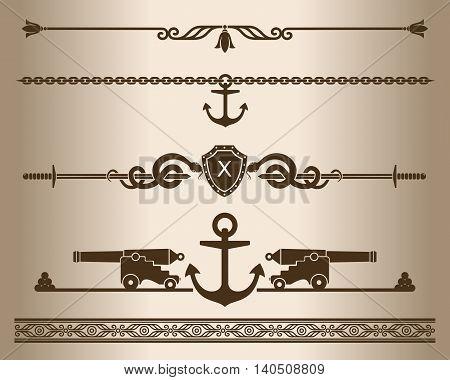 Decorative elements - Ship gun. Design elements - decorative line dividers and ornaments. Monochrome graphic element. Vector illustration.