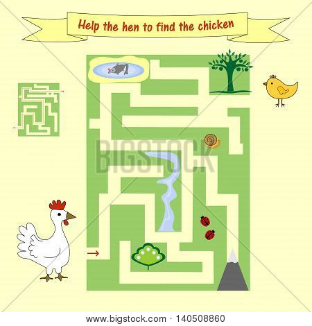 Kids homework How help a hen to find the chicken. Preschool education. Board game