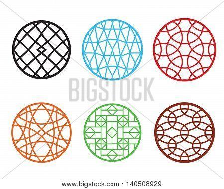 Art round Chinese pattern window frame vector