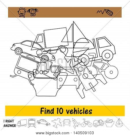 The task for the children to find ten vehicles from a pile. Preschool education