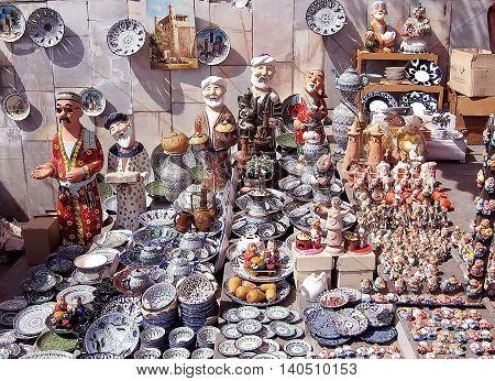 Tashkent Uzbekistan - September 13 2007: Handicraft Ceramic Art.