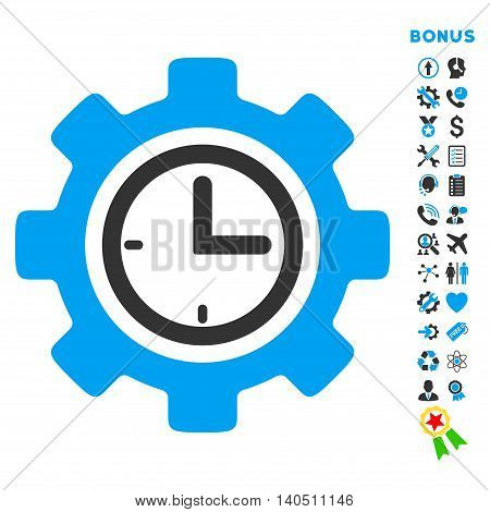 Time Setup icon with bonus pictograms. Vector style is bicolor flat iconic symbol with rounded angles, blue and gray colors, white background.