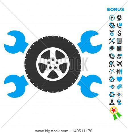 Tire Service icon with bonus pictograms. Vector style is bicolor flat iconic symbol with rounded angles, blue and gray colors, white background.
