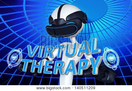 Virtual Reality VR Therapy 3D Illustration