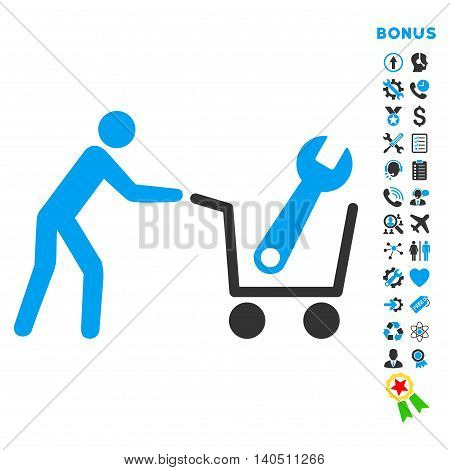 Tools Shopping icon with bonus pictograms. Vector style is bicolor flat iconic symbol with rounded angles, blue and gray colors, white background.